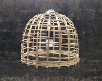 Bamboo pendant light,bamboo basket wicker woven shade hanging lamp size 32cm.pendant lamp,pendant lighting,dining light,kitchen light