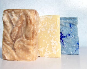 Sea Salt Soap Set - Lemongrass, Tranquility, Tropical Hawaiian - Essential Oil - Lavender, Patchouli - Palm Free - Scrub Soap, Cold Process
