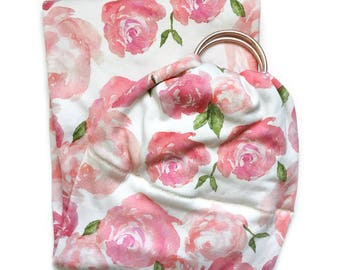 Flower Ring Sling - Floral Ring Sling - Baby Ring Sling - Baby Carrier - Baby Ring Sling Carrier - Organic Ring Sling