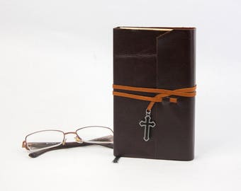 The Vampire Lestat by Anne Rice Rebound in Dark Chocolate Brown Leather with Cross Charm, Handmade Book
