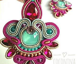 Soutache earrings, long earrings, embroidered by hand, chandelier earrings, goldfilled earrings, soutache long earrings, handmade jewelry.