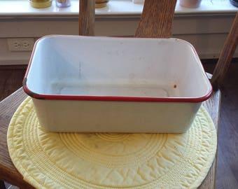 Vintage White Enamelware Box Container