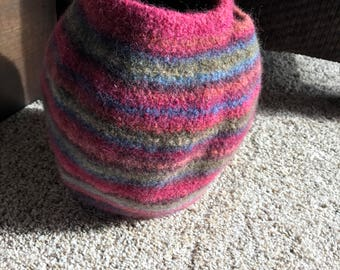 Felted crochet basket