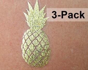 Pineapple Gold Temporary Tattoos - Metallic Tattoo - Jewel Flash Tattoos - Fake Jewelry - Summer Fruit Tattoos - Party Tattoos Body Stickers
