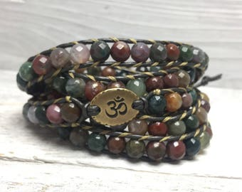 Faceted Fancy Jasper Om Wrap Bracelet
