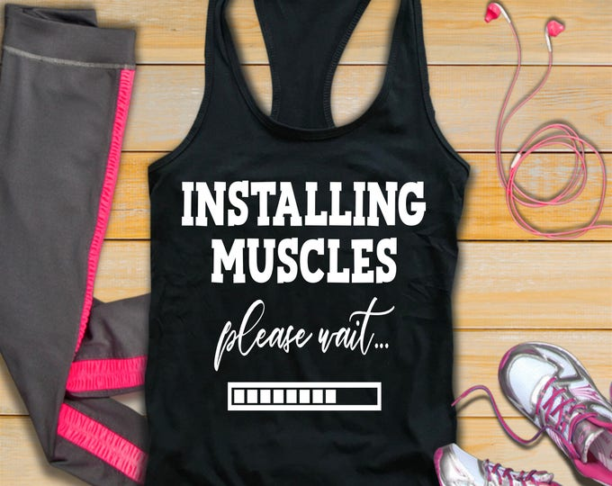 Installing Muscles Workout Tank Top-Crossfit-Womans Fitness Tank Top-Bella Canvas Flowy Tank Top-Loose Fit