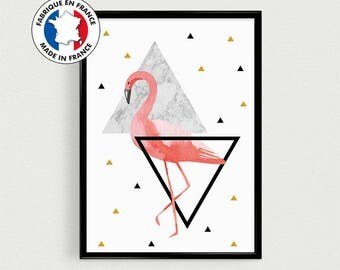 Poster A4 Flamingo - scanidnave - triangles gold black and pink