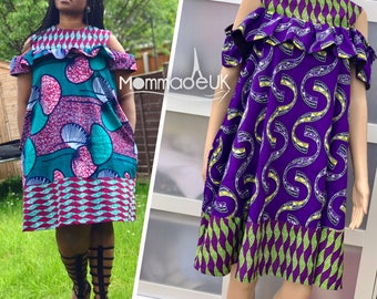 "The "" Tosin"" Cold shoulder dress with pockets  / ankara dress / shift dress/ african wax print / plus sizes / african clothing uk sizes 8-18"