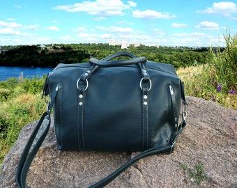 Mens leather travel bag Large Leather bag blue leather bag mens Daffle crossbody bag Traveler's gift leather purse crossover leather bag