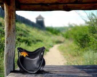 Black Leather Bag minimalist shoulder bag leather handbag women simply black purse leather crossbody handmade hobo bag crossover handbag