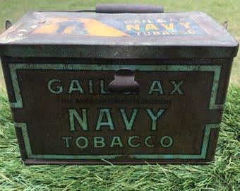 Gail And Ax Navy Tobacco Tin, Advertising Tin, Antique Tobacco  Collectible, Antique Tobacco Pail, Vintage Tobacco Tin