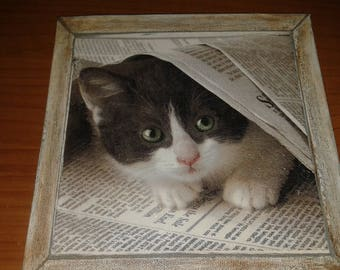 Square decoupage vintage kitten