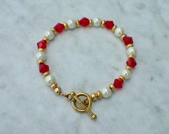 Red Swarovski and Hemalyke Beaded Bracelet