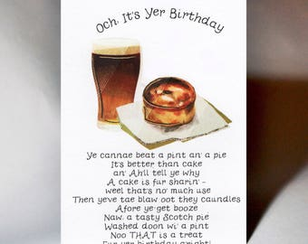 Birthday Pint and a Pie Card WWBI138