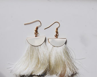 cream long tassel earrings