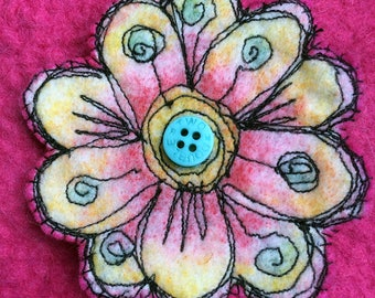 Textile brooch, freehand embroidery, collectible brooch, OOAK, felt pin, fibre arts, pin, gift, Woolly Felters, Judy Balchin,