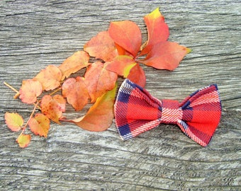 Red Plaid bow tie brooch
