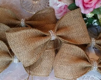BURLAP BOWS Set of 10 Rustic Decor Wedding Bows Party Bows Mason Jars Home Decor