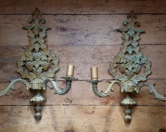 2 large appliques wrought iron with 2 lights, vine - 2 wrought iron sconces 2 lights pattern