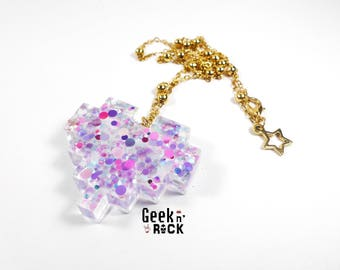 Necklace Geek - Pixel heart vibrant holographic glitter