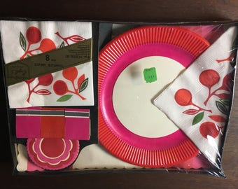 Vintage 1960's New in Package English Cards Retro Hostess Set Plates Napkins Coasters Place Mats Matches