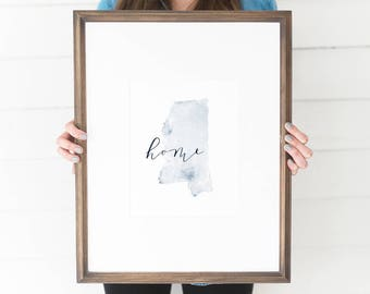 Mississippi Watercolor, Mississippi Print, Mississippi Home, Mississippi Wall Art, Mississippi Painting, MS state, Mississippi Wall Decor