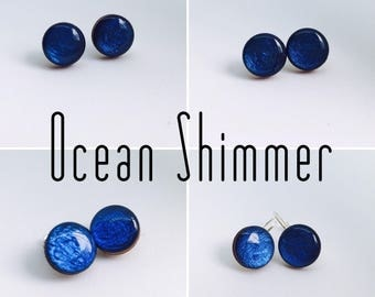 Ocean Shimmer Round Resin/Bamboo Earrings - various styles and bails • studs • clip ons • drop • dangles • surgical steel • silver plated