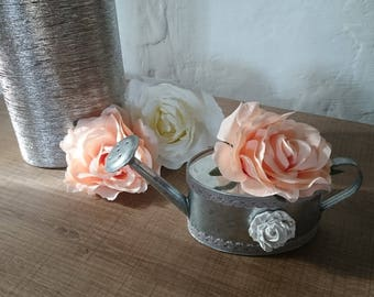 Small zinc watering can and its cast to order roses