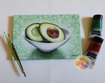 "Avocado, Avocado Painting, 20x30 Centimeters, 8""x12"", Original Signed Artwork On Canvas, Vegetable Art, Kitchen Wall Art, Dining Room Decor"