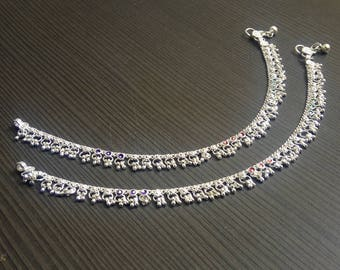 Silver plated anklets | banjara style rings | Indian payal jewelry | Barefoot anklet jewelry | Indian silver anklet | payal anklet | A207