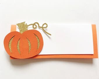Glitter Pumpkin placecard settings/name tags