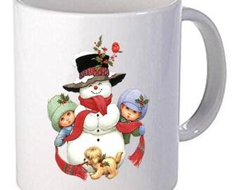 Merry Christmas Snow Man Beautiful Coffee Mug