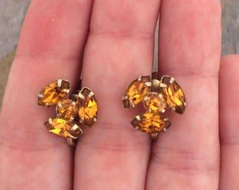 Vintage Coro screwback earrings with orange rhinestones-vintage costume jewelry-small earrings