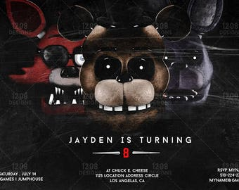 Five Nights At Freddy's Invitations - Party Birthday Supplies - Foxy, Bonnie, Freddie, Main Characters