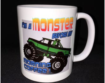Monster Truck Coffee Mug, 4 Wheeling, Off Road, Mudding, Big Foot