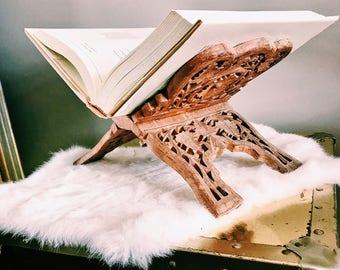 Large Vintage Cookbook Holder /  Hand-Carved Indian Folding Book Holder