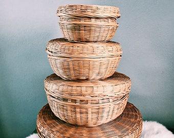 Vintage Set of Four (4) Rattan Nesting Baskets w/ Lids / Boho Basket Decor
