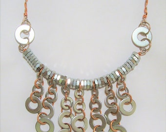 Bib Necklace,Statement Necklace, Industrial Jewelry, Stainless Steel Jewelry, Metal Washers, Metal Nuts, Hardware, Copper Jewelry, Edgy