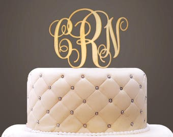 Monogram Wooden Cake Topper - Set of 1