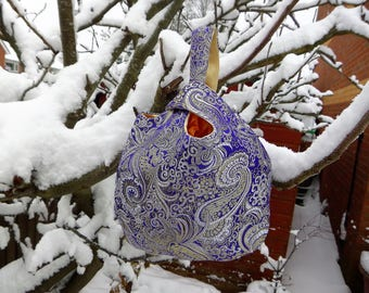 Japanese Knot Bag, Blue Evening Bag, Evening Bag, Japanese Brocade, Blue and Gold Paisley Design