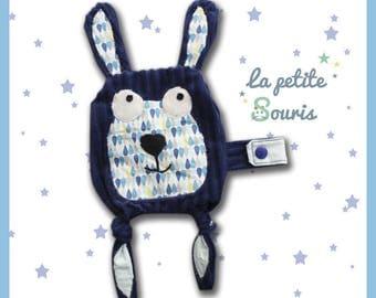 "flat/pacifier soft velvet Minky blanket ""Lilizou"" Blue Navy"