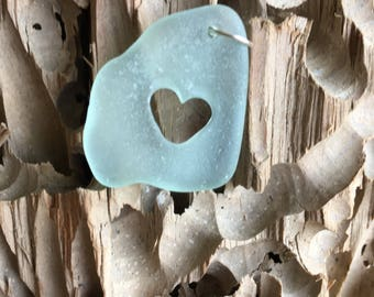 Genuine sea glass in pale blue/green  with hand carved / engraved love heart pendant for any necklace, birthday, anniversary