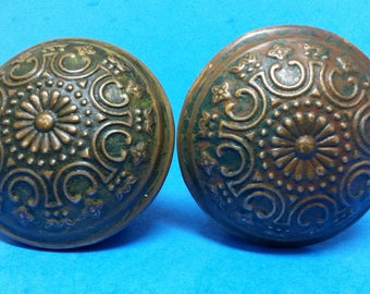 Antique Door Knobs, Wrought Bronze Yale and Towne Eastlake, Pair of 2 Each, ca. 1905