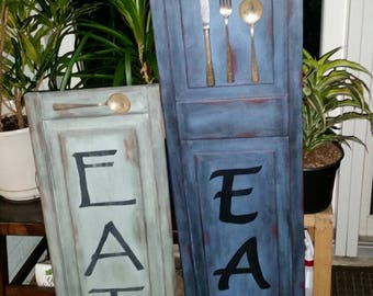 Blue Sold, Custom Orders, EAT Sign, Kitchen decor, Resturant, Vintage Silverware