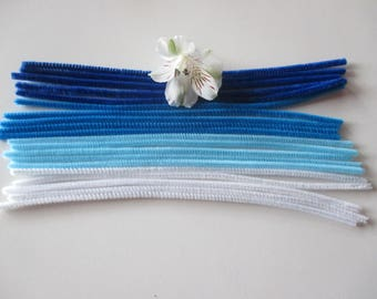 20 electric wire, different colors, white, blue, turquoise, dark blue.