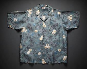 1940s 1950s Kihi Kihi Silk Hawaiian Shirt W/ Asian Motif XL