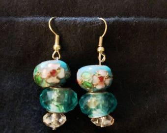 Flowered Enameled Drop Earrings