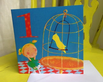 Age 1 Birthday Card ~ Girl with Canary