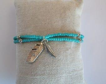 Bracelet/collier enfant - thème turquoise avec plumes