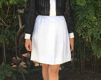 Sophisticated Sheer & Sequined Tuxedo Dress
